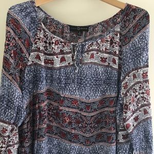 Fred David Tops - 3X Boho Top | Blue Red Tie Front Festival Top